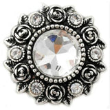 Rose Accent Rhinestone Metal Snap 20mm - Clear - Snap Jewelry