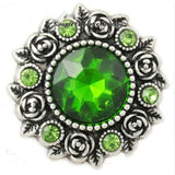 Rose Accent Rhinestone Metal Snap 20mm - Green - Snap Jewelry