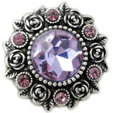 Rose Accent Rhinestone Metal Snap 20mm - Pink-Purple - Snap Jewelry