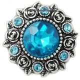 Rose Accent Rhinestone Metal Snap 20mm - Turquoise - Snap Jewelry