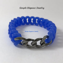 Silicone Platinum Chain Bracelet (8 Colors) - Blue - Silicone Jewelry