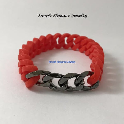 Silicone Platinum Chain Bracelet (8 Colors) - Red - Silicone Jewelry