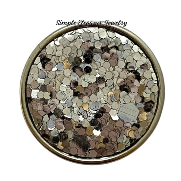 Silver Glitter Snap Charm 20mm - Snap Jewelry