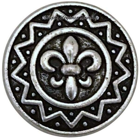 Silver Metal Fleur-de-lis Snap Charm 18mm for Snap Jewelry - Snap Jewelry