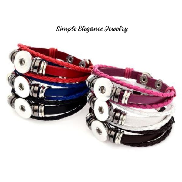 Single Snap Bracelet-Leather-8 Colors To Choose From- Simple Elegance Jewelry - Snap Jewelry