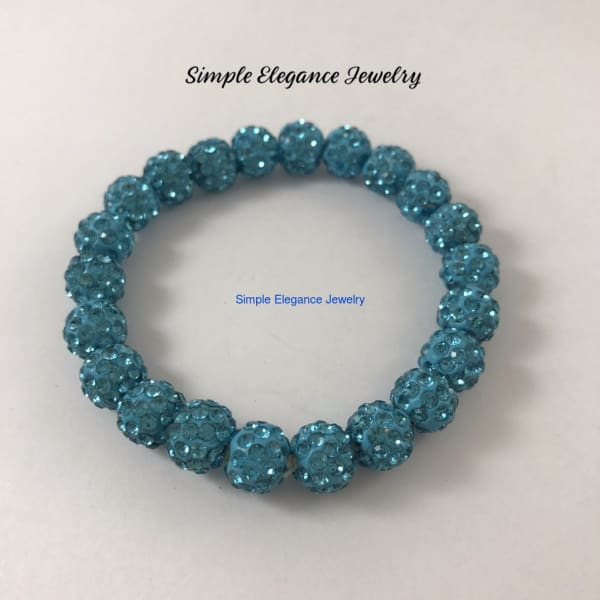 Sky Blue Elastic Shamballa Bead Bracelet 10mm Beads - Small-Medium - Shamballa Bead Bracelets