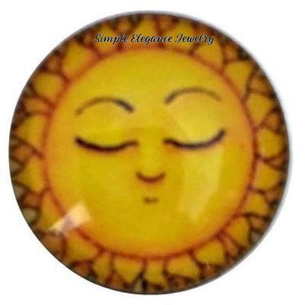 Sleeping Sun Face 18mm for Snap Jewelry (2079) - Snap Jewelry