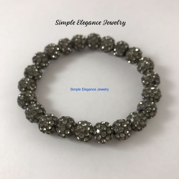 Smoke Elastic Shamballa Bead Bracelet 10mm Beads - Small-Medium - Shamballa Bracelets