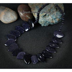 Sparkle Blue Sandstone Necklace (Matching Optional Bracelet) - Necklace - Natural Stone Necklaces