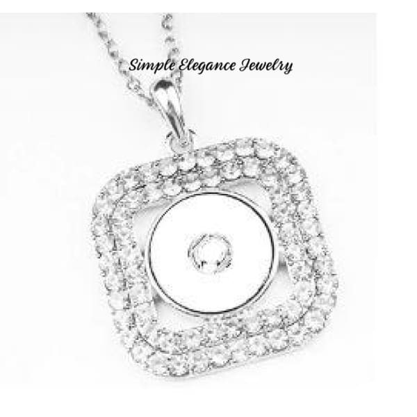 Square Rhinestone Snap Necklace 20mm Snaps - Snap Jewelry