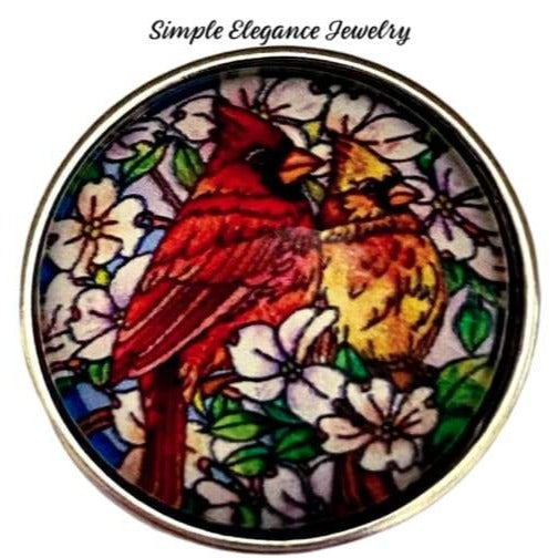 Stain Glass Cardinal Pair Snap 20mm - Snap Jewelry