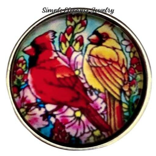 Stain Glass Cardinal Pair Snap Charm 20mm - Snap Jewelry