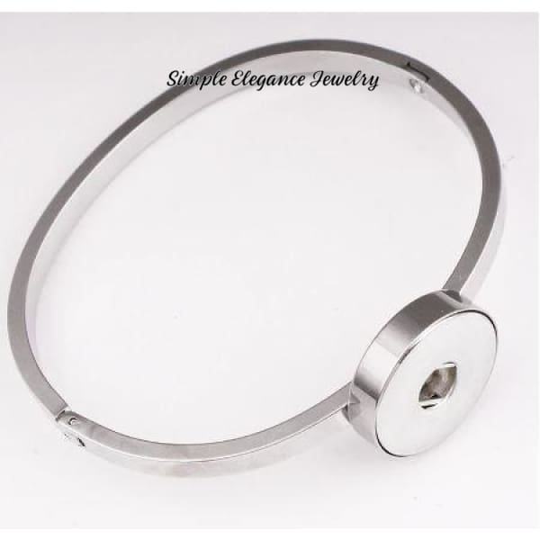 Stainless Steel Bangle Single Snap Bracelet 20mm Snaps - Snap Jewelry