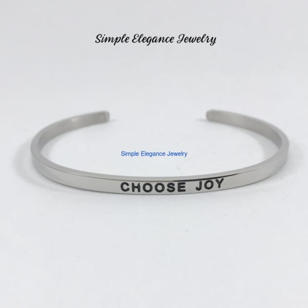 Stainless Steel Inspiration Cuff Bracelet - Choose Joy - Stainless Steel Inspiration Bracelets