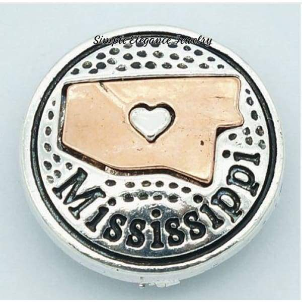 State Metal Snap 18mm for Snap Jewelry - Mississippi - Snap Jewelry