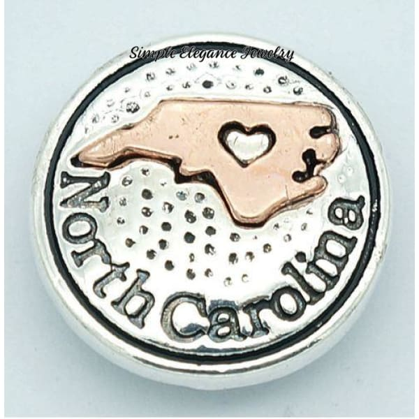 State Metal Snap 18mm for Snap Jewelry - North Carolina - Snap Jewelry
