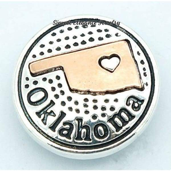 State Metal Snap 18mm for Snap Jewelry - Oklahoma - Snap Jewelry