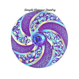 Swirl Acrylic Snap 18mm for Snap Jewelry - Purple - Snap Jewelry
