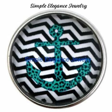 Teal-Black Chevron Anchor Snap 20mm - Snap Jewelry