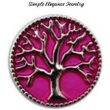 Tree of Life Metal Snap 20mm for Snap Charm Jewelry - Pink - Snap Jewelry