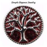 Tree of Life Metal Snap 20mm for Snap Charm Jewelry - Red - Snap Jewelry