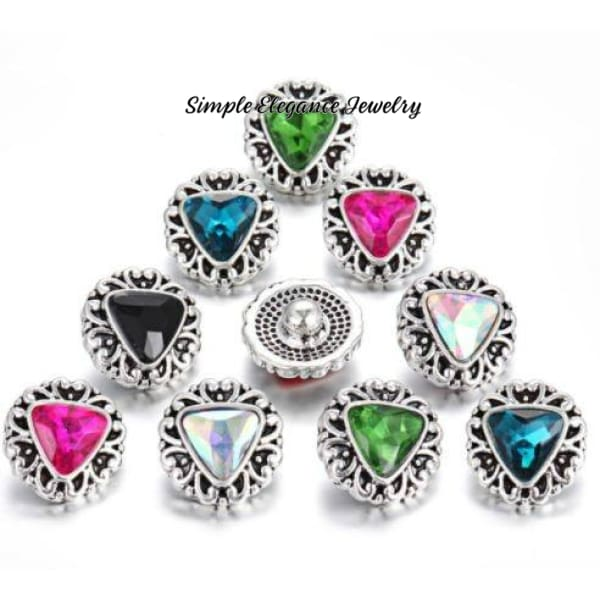 Triangle Mini Rhinestone 12mm Snap Charms for Snap Jewelry - Snap Jewelry