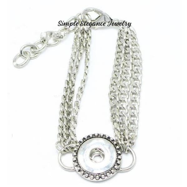 Triple Chain Single Snap Bracelet 20mm Snaps - Snap Jewelry