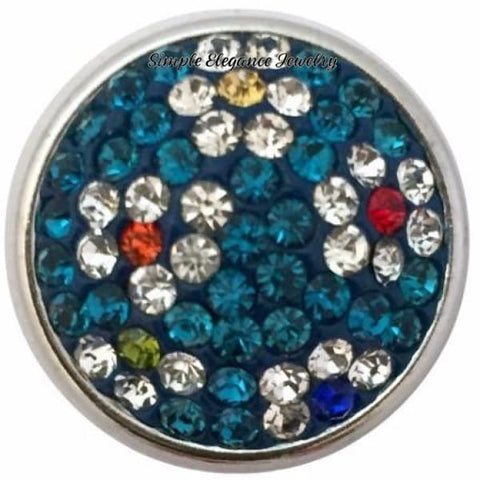 Turquoise Rhinestone Flower Snap 18mm for Snap Jewelry - Snap Jewelry