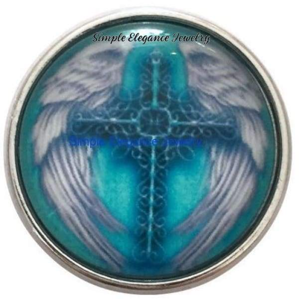 Turquoise Wing Cross Snap 20mm for Snap Charm Jewelry - Snap Jewelry