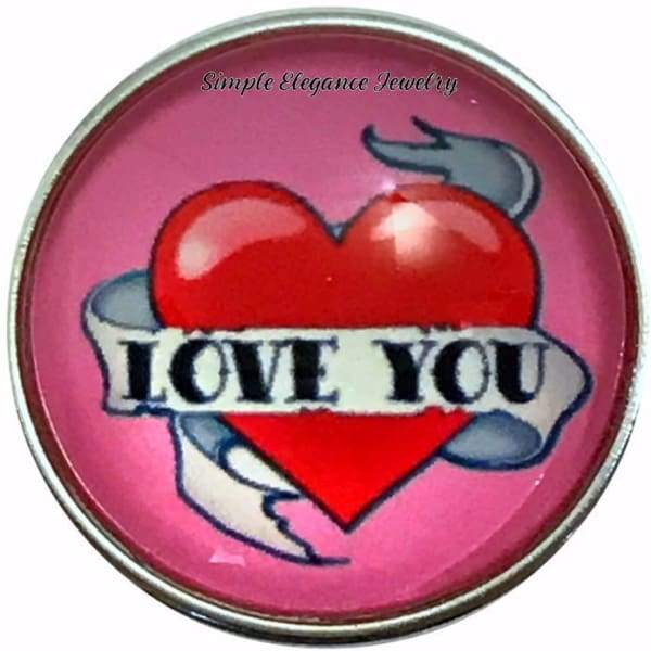 Valentine Love You Heart Snap Charm 20mm for Snap Jewelry - Snap Jewelry