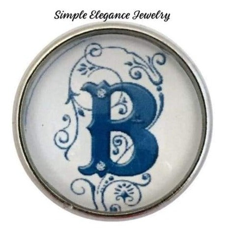 White-Blue Alphabet Initials (A-Z) 20mm Snaps - B - Snap Jewelry
