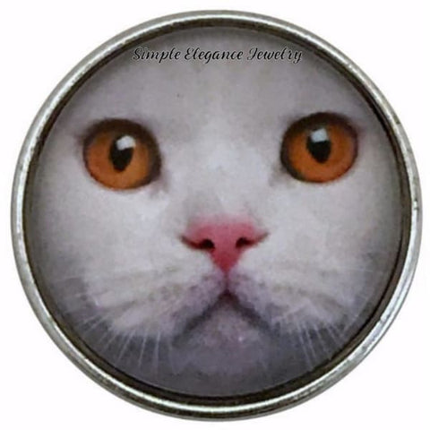 White Cat Face-Brown Eyes 20mm Snap Charm for Snap Jewelry - Snap Jewelry
