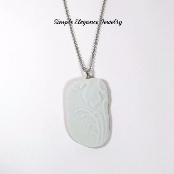White Floral Filigree Recycled Broken China Necklace - Broken China Jewelry