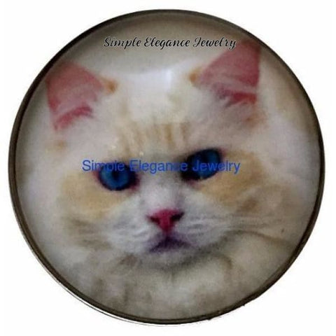White Kitten Snap Charm 20mm for Snap Jewelry - Snap Jewelry