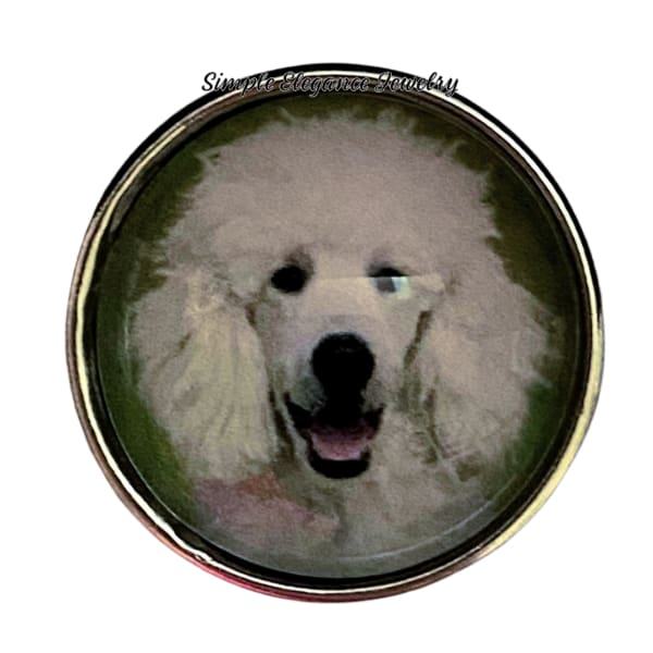White Poodle Dog Snap Charm 20mm - Snap Jewelry