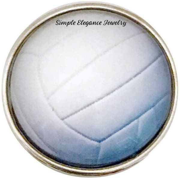 White Volleyball Snap Charm 20mm for Snap Jewelry - Snap Jewelry