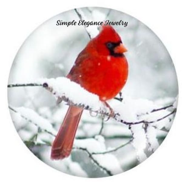 Winter Cardinal Snap Charm 20mm - Snap Jewelry