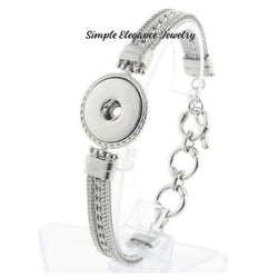 Woven Toggle Clasp Single Snap Bracelet 20mm Snaps - Snap Jewelry