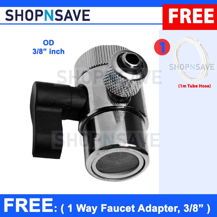 SHOPNSAVE Water Filters parts, 3/8 inch 1 way diverter, 3/8 1 way adapter, replacement part for water filters system