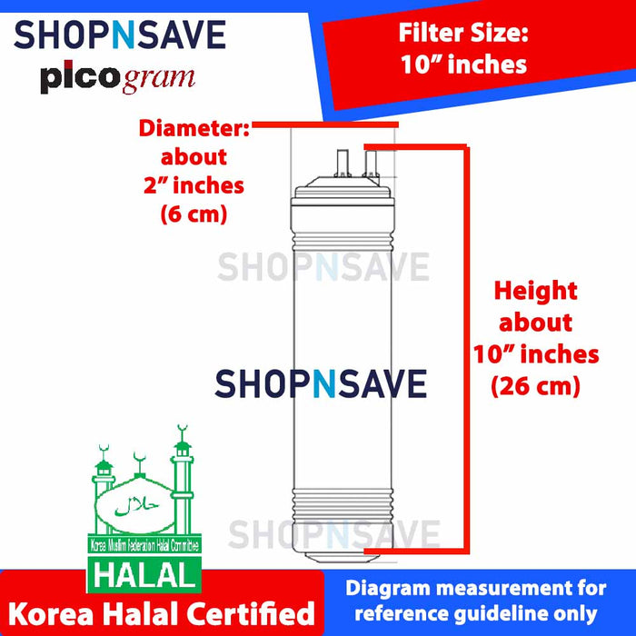 "Picogram Korea Filters Cartridge for coway VALUE P-07Q, 6 PCS, 10"" Ultra-Fine Water Filtration System, Korea Halal Certified"