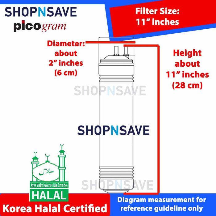 "Picogram Korea Filters Cartridge for coway SALLY CHP-06ER, 6 PCS, 29cm, 11"" Ultra-Fine Water Filtration System, Korea Halal Certified High-Quality Korea Picogram Replacement Cartridges"