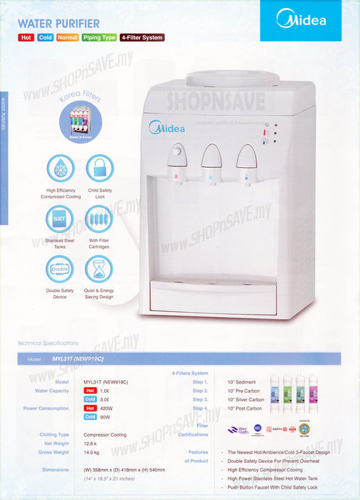 Midea Hot Cold Normal Water Dispenser with 4 Korea Water Purifier, Table Top - SHOP N' SAVE effortless Shopping!