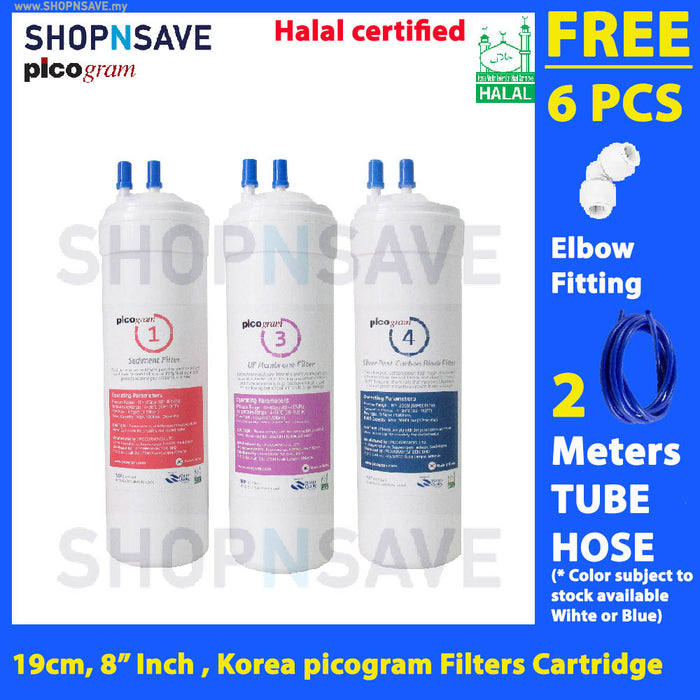 "Picogram Korea Filters Cartridge for cuckoo EPIC, 3 PCS, 8"" Ultra-Fine Water Filtration System, Korea Halal Certified High-Quality Korea Picogram Replacement Cartridges"