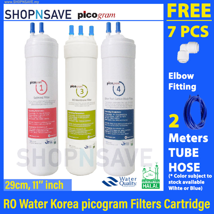 "Korea Picogram RO Water Filters Cartridge for coway SALLY CHP-06ER, 3 PCS, 29cm, 11"" RO Membrane Water Filtration System, Korea Halal Certified High-Quality Korea Picogram Replacement Cartridges"