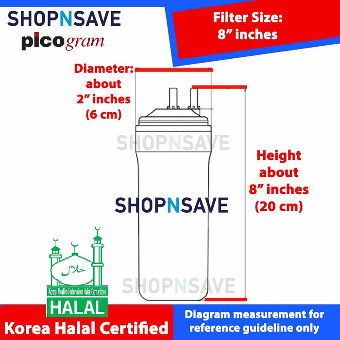 "Picogram Korea Filters for coway LUCY CHPI-620L - 6 PCS, 8"" Ultra-Fine Water Filtration System, Korea Halal Certified High-Quality Korea Picogram Replacement Cartridges"