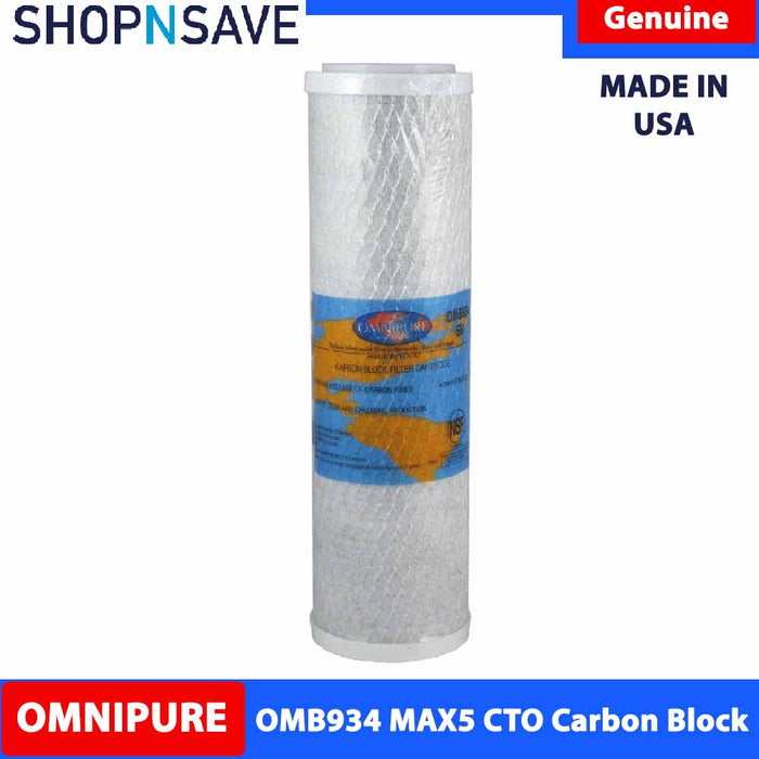 "Premium Omnipure High performance Carbon Block 2.5"" x 10"" Carbon Block Filter Water Filter OMB934 MAX5 Cto Carbon"