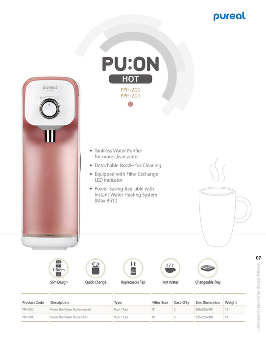 Pureal Instant Hot Water Purifier Water Dispenser Elegant Pink Super Slim & Compact design - SHOP N' SAVE effortless Shopping!