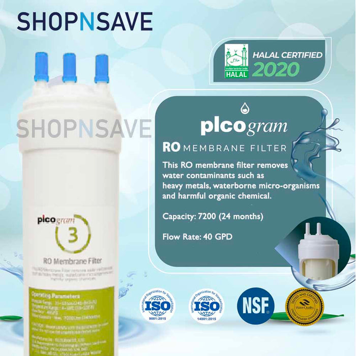 "Korea Picogram Ro Water Filters Cartridge for coway MACH CHP-03A, 4 PCS, 24cm, 10"" Ro Membrane Water Filtration System, Korea Halal Certified High-Quality Korea Picogram Replacement Cartridges"