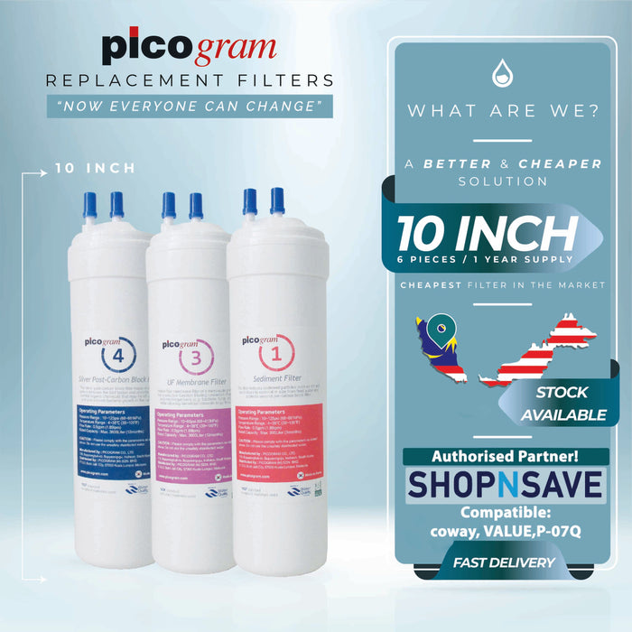 "Picogram Korea Filters Cartridge for coway VALUE P-07Q, 6 PCS, 24cm, 10"" Ultra-Fine Water Filtration System, Korea Halal Certified"