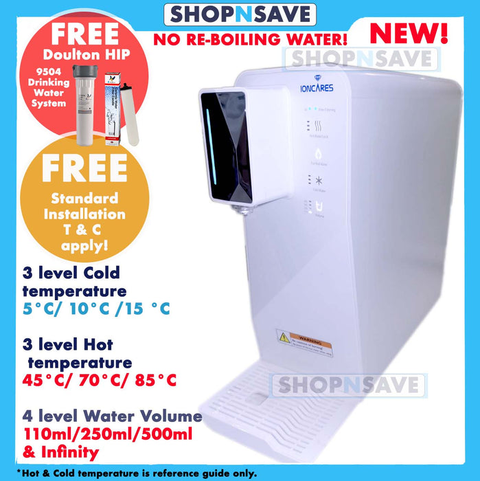 Livingcare Ioncares Motorless + True Tankless Instant Hot + COLD & Ambient Water Purifier, 3 Cold Water level, 7°C/9°C/11°C + 3 hot temperature level 45°C/75°C/85°C, 4 level water volume, 110ml/250ml/500ml/ infinity